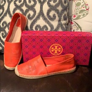 Tory Burch Leather Perforated Espadrilles NWB